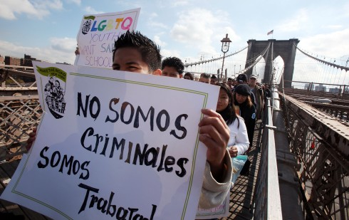 Activists Lead Immigration Rights March Over Brooklyn Bridge